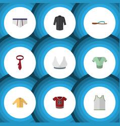 Flat icon clothes set of cravat singlet t-shirt vector
