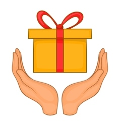Gift box in hands icon cartoon style vector image vector image