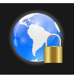 Globe Icon with Protection Lock vector image vector image