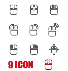 grey computer mouse icon set vector image vector image