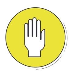 Hand gesture inside green button design vector
