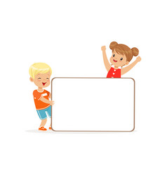 happy boy and girl characters with white empty vector image vector image