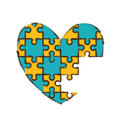 Heart puzzle pieces image vector