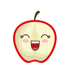 Kawaii apple icon vector