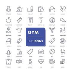 line icons set gym vector image