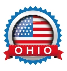 Ohio and usa flag badge vector