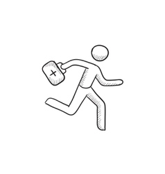 Paramedic running with first aid kit sketch icon vector image vector image
