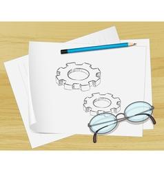 Planning Cogs Paper vector image