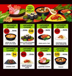 Price menu for japanese cuisine restaurant vector