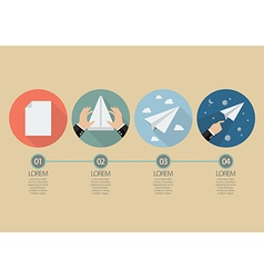 Process of hand folding the rocket paper vector