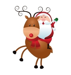 santa claus on reindeer icon vector image
