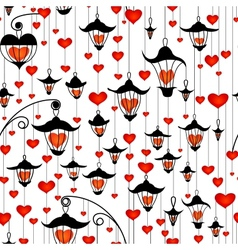 Seamless wallpaper with lanterns and heart for vector image