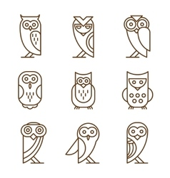 Set of Owl Logos and Emblems vector image vector image