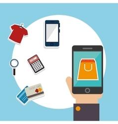 Shopping and digital marketing vector