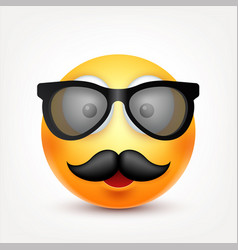 smileyemoticon with glasses and mustache yellow vector image