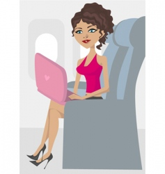 woman in the plane vector image vector image