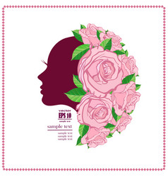 Womans face in flower vector