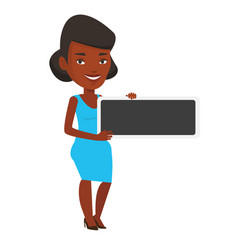 Young african-american woman holding blank board vector