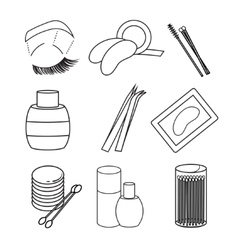 Hygiene icons lash extentions signs vector