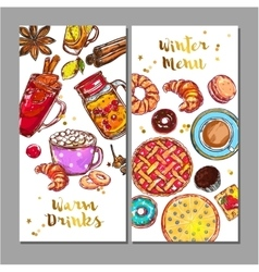 Food drink menu banner set vector