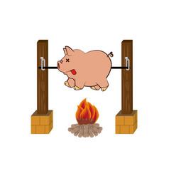 Picnic cooking campfire icon vector