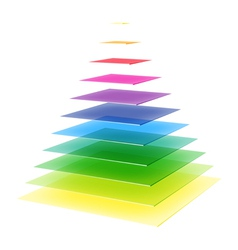 Layered rainbow pyramid vector
