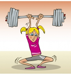 Cartoon girl weight-lifter vector