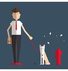 Young man walking a dog and cleans her flat style vector image