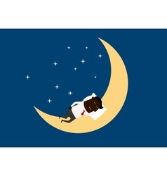 Black businessman sleeping on the moon vector