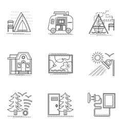 Hiking and camping thin flat line icons set vector