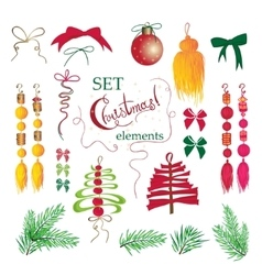 Set christmas and new year vintage holiday vector