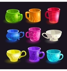 Colorful cartoon tea cups set vector