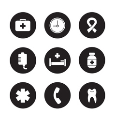 Hospital black icons set vector
