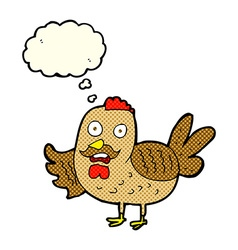 Cartoon old rooster with thought bubble vector