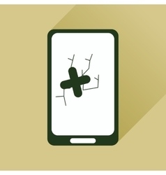 Flat web icon with long shadow mobile broken vector