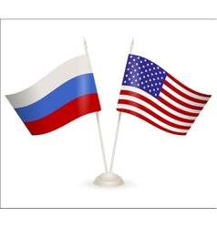Table stand with flags of russia and usa vector