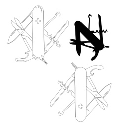 Swiss army knife lineart vector