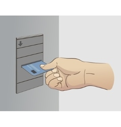 Hand Inserting Card vector image