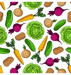 Vegetarian seamless pattern with fresh vegetables vector