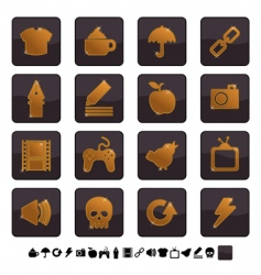 black and gold icons  vector image