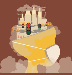 Abstract head of pollution in the city pollution vector