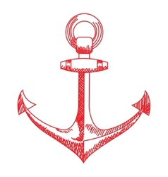 Anchor icon nautical isolated white red vector