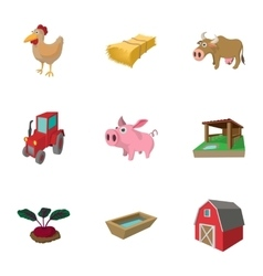 Barnyard icons set cartoon style vector image vector image