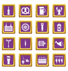 beer icons set purple vector image