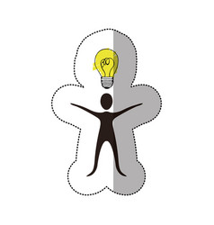 Black person that have a good idea icon vector