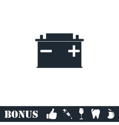 Car battery icon flat vector
