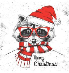 Christmas hipster fashion animal raccoon vector