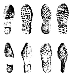 Collection imprint soles shoes black silhouette vector image