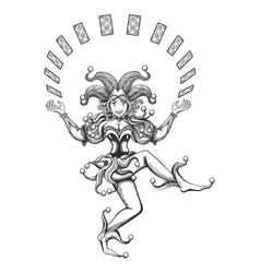 dancing joker girl vector image vector image