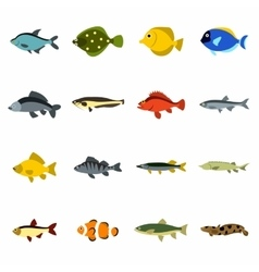 Fish icons set flat style vector image